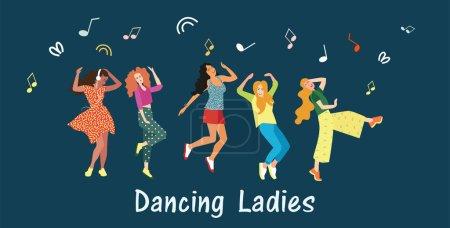 Illustration pour Danser pour les filles. Les femmes dansent et se déplacent vers la musique lors d'une soirée, d'un festival ou d'un carnaval. Des émotions joyeuses. Illustration vectorielle - image libre de droit