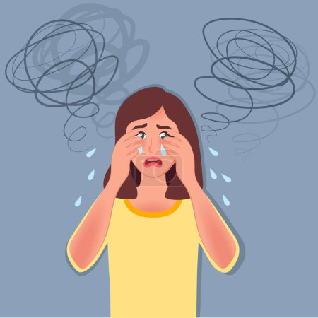 Illustration for The young girl has a panic attack, fear, anxiety, headache, Depression painted in the style of doodles. Vector illustration of people with vegetative symptoms - Royalty Free Image