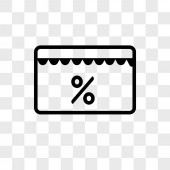 Discount tag vector icon isolated on transparent background Dis
