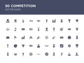 50 set of competition vector icons such as podium goal rise m