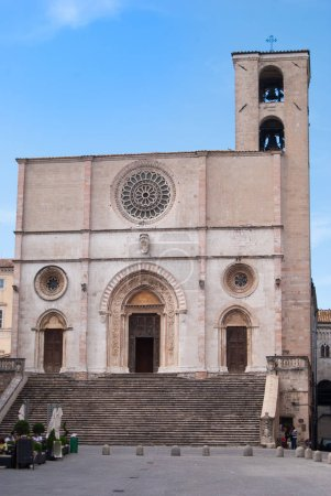 Main church in Romanesque Gothic style of twelfth century in a little town near Norcia and Perugia