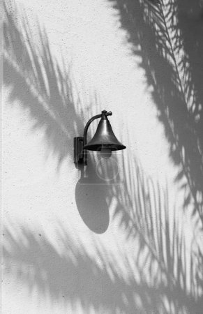 Lighting attached to the wall of a house with projection of the shadows of palm leaves