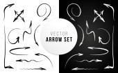 Arrow set hand drawn Brush ink calligraphy Vector illustration for print banner user interface and applications Cursor black and white collection Artistic style symbol pack