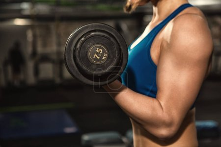 Photo for Tone up! Cropped shot of a fitness woman with strong toned fit body in sportswear doing biceps curls exercising at the gym copyspace workout training motivation lifestyle health active concept - Royalty Free Image