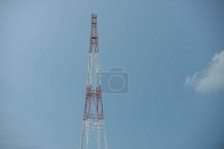 Broadcast tower on sky background