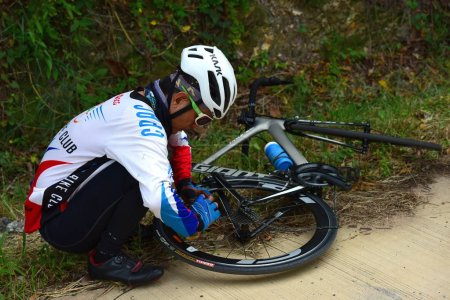 """Photo for Amateur bike athletes make the most of their efforts in the Bicycle race Charity Trip """"Nhong Yai Country Road, please ask"""" on 2018/06/24 at Nhong Yai,Chonburi, Thailand. Distance 80 km. - Royalty Free Image"""