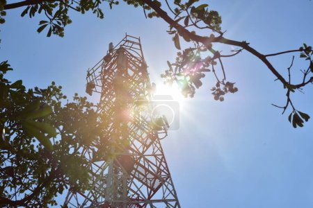 Photo for Wireless Communication Antenna With bright sky.Telecommunication tower with antennas with blue sky. - Royalty Free Image