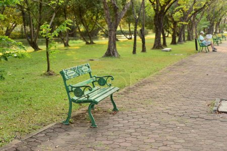 Photo for Green bench in the beautiful park. - Royalty Free Image