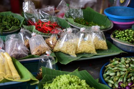 Photo for Close up of different meal ingredients on market display - Royalty Free Image