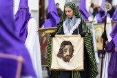 Marchena, SEVILLE, SPAIN - March 30, 2018: Procession of Holy Week('Semana Santa') in Marchena, SEVILLE. Holy Friday afternoon. Procession of the Brotherhood of Nazarene Jesus