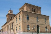 Set of the neomudejar style brick church of San Matias, in Hortaleza, Madrid. Spain