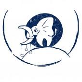 Vector hand drawn illustration, little elephant holding the moon, stars, white texture