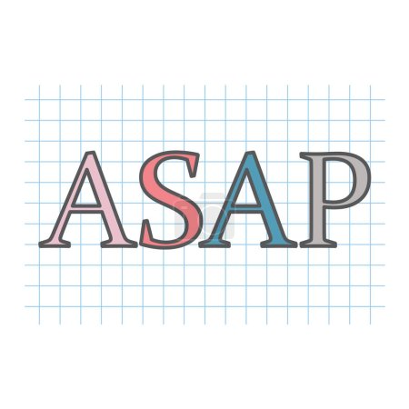 ASAP (As Soon As Possible) acronym written on checkered paper sheet