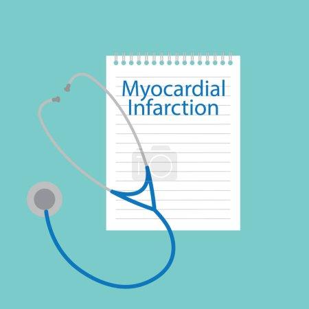 Illustration pour Infarctus du myocarde écrit dans un carnet illustration vectorielle - image libre de droit
