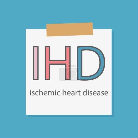 Illustration pour IHD fréquence de cardiopathie ischémique écrit dans un carnet papier illustration vectorielle - image libre de droit