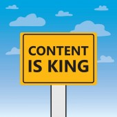 content is king written on a billboard- vector illustration