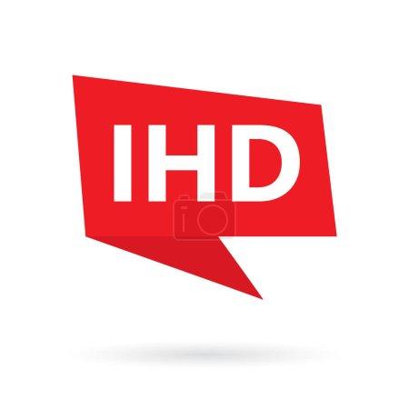 Illustration pour IHD (cardiopathie ischémique) acronyme sur une illustration vectorielle de bulles de speach - image libre de droit