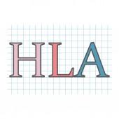 HLA (Human leukocyte antigenon) on checkered paper sheet- vector