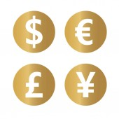 golden most popular currency symbols- vector illustration