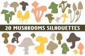 20 Mushrooms Silhouettes various design set