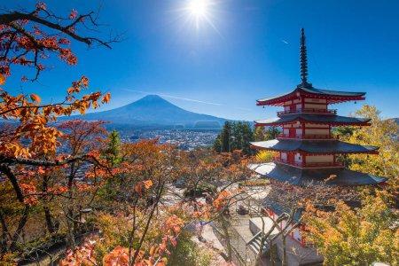 Mount Fuji viewed from lake Kawaguchiko in Japan autumn seasoning