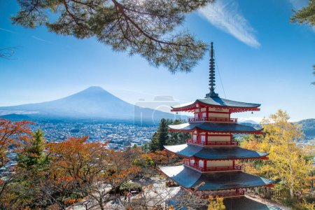 Famous Place of Japan with Chureito pagoda and Mount Fuji view in autumn season