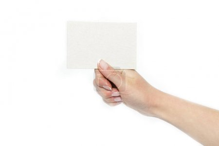 Photo for In the hands of advertising card on a white background - Royalty Free Image