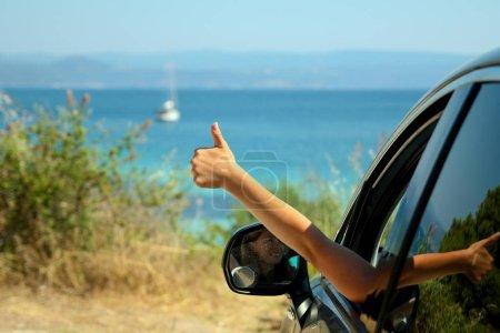 happy people driver on car near sea