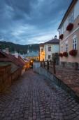 Street in the old town of Banska Stiavnica in central Slovakia