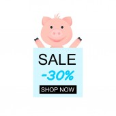 Vector Illustration Cartoon happy pig for design