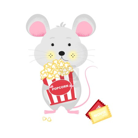 Illustration for Isolated cute cartoon Mouse with popcorn bucket goint to cinema. Ticket icon. Mouse with bucket.   New Year card, t-shirt composition, handmade, animal symbol of 2020. Vector illustration - Royalty Free Image