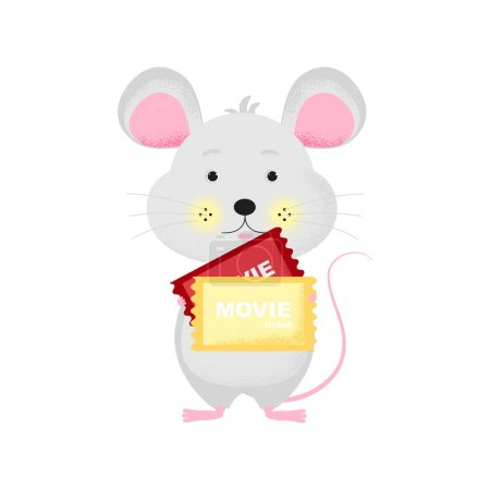 Illustration for Isolated cute cartoon Mouse with ticket goint to cinema. Ticket icon. Mouse with ticket. New Year card, t-shirt composition, handmade, animal symbol of 2020. Vector illustration - Royalty Free Image