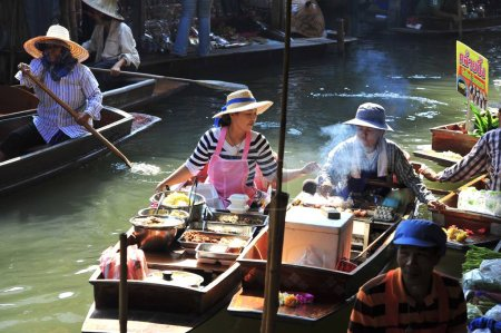 Floating market at day in Thailand.