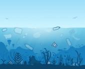 Plastic world ocean pollution. Garbage in sea. Plastic bottles and trash floating in water. Underwater inhabitants. Underwater scene. Coral reef and sea plants and fish. Modern line illustration.