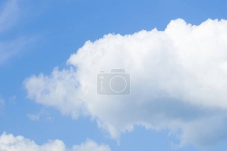 Blue Sky with White Cumulus Clouds.