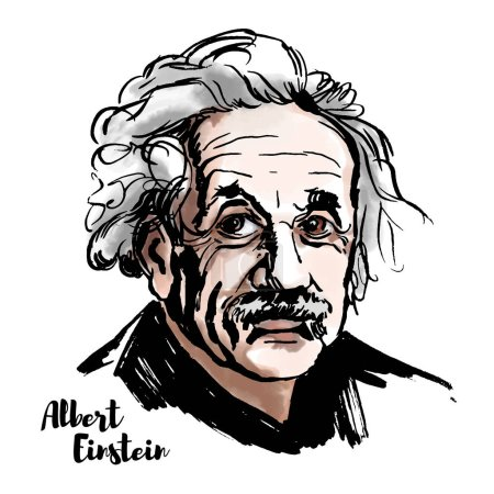 Photo for Albert Einstein watercolor vector portrait with ink contours. The theoretical physicist who developed the theory of relativity, one of the two pillars of modern physics. - Royalty Free Image