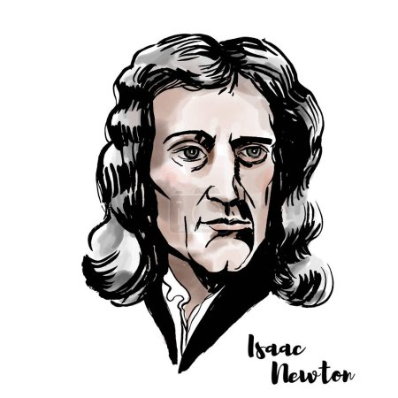 Photo for Isaac Newton watercolor vector portrait with ink contours. English mathematician, astronomer, theologian, author and physicist. - Royalty Free Image