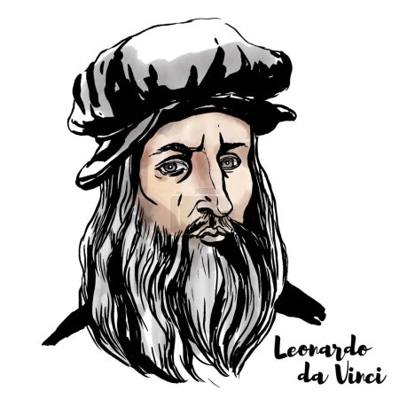 Photo for Leonardo da Vinci watercolor vector portrait with ink contours. - Royalty Free Image