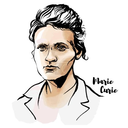 Photo for Marie Sklodowska Curie watercolor vector portrait with ink contours. The first woman to win a Nobel Prize. - Royalty Free Image