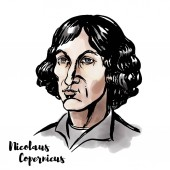 Nicolaus Copernicus watercolor vector portrait with ink contours Renaissance-era mathematician and astronomer who formulated a model of the universe