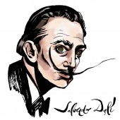 Vector hand drawn watercolor portrait with famous artist Salvador Dali and his signature