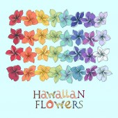 Rainbow hawaiian flower lei set Plumeria leis in different colors with lettering