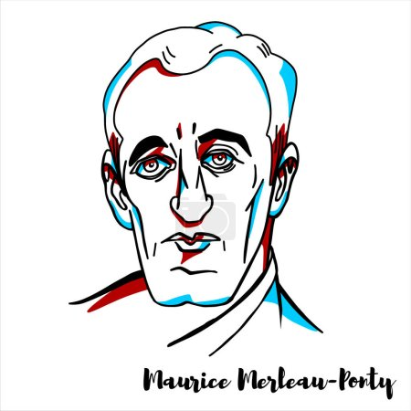 Photo pour Maurice Merleau-Ponty engraved vector portrait with ink contours. French phenomenological philosopher, strongly influenced by Edmund Husserl and Martin Heidegger. - image libre de droit