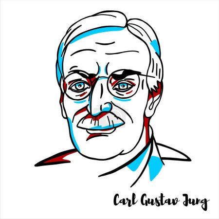 Photo pour Carl Gustav Jung engraved vector portrait with ink contours. Swiss psychiatrist and psychoanalyst who founded analytical psychology. - image libre de droit