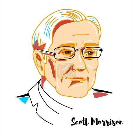 Photo pour Scott Morrison engraved vector portrait with ink contours. Australian politician serving as the 30th and current Prime Minister of Australia. - image libre de droit