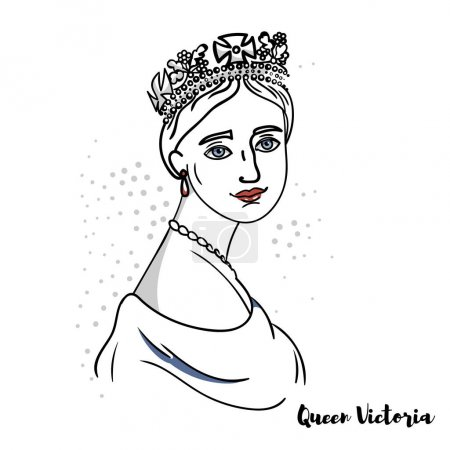 Photo pour Queen Victoria flat colored vector portrait with black contours. The Queen of the United Kingdom of Great Britain and Ireland from 20 June 1837 until her death. - image libre de droit