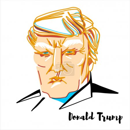 Photo pour Donald Trump engraved vector portrait with ink contours. The 45th and current president of the United States. - image libre de droit
