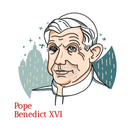 Photo pour Pope Benedict XVI color vector portrait with black contours. The head of the Church and sovereign of the Vatican City from 2005 until his resignation in 2013. - image libre de droit