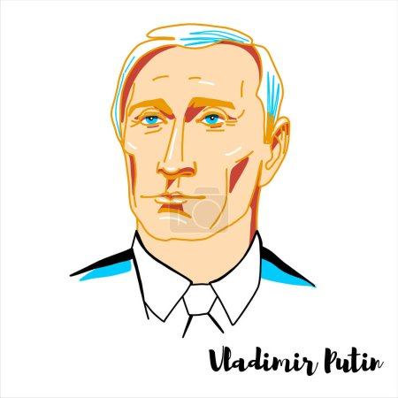 Photo pour Vladimir Putin engraved vector portrait with ink contours. Russian politician and former intelligence officer serving as President of Russia. - image libre de droit