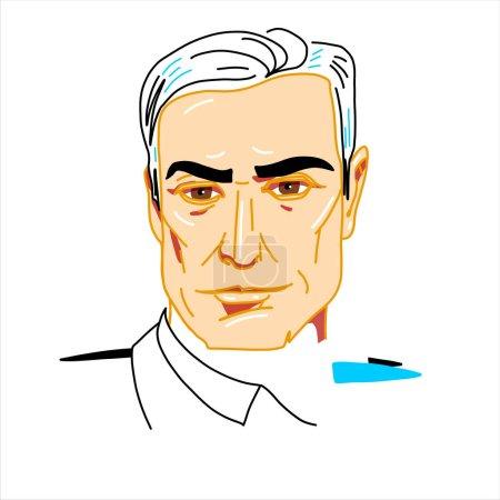 Photo pour Pedro Sanchez engraved vector portrait with ink contours. Spanish economist and politician serving as Prime Minister of Spain since 2 June 2018. - image libre de droit